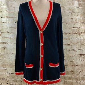 Banana Republic Large Cardigan Blue Coral Preppy